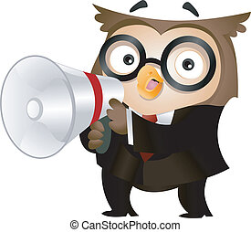 Owl Megaphone - Illustration of an Owl Clad in Business...