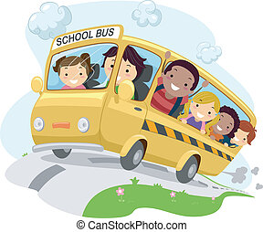 Stickman Schoolbus - Illustration of School Kids Riding a...