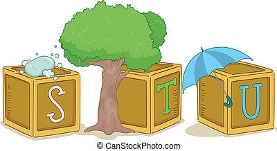 Wood Blocks STU - Illustration of Wood Blocks with the...