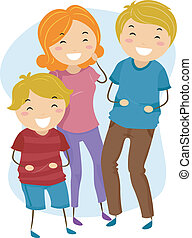 Laughing Family - Illustration of a Family Laughing Heartily