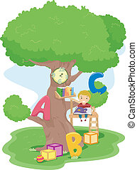 Treehouse Reading - Illustration of a Boy Reading in a...