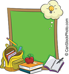 Blackboard - Illustration of Books, Stationery, and Other...