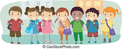 School Kids - Illustration of School Kids Neatly Lined Up in...