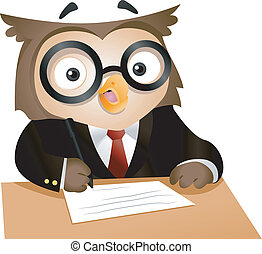 Writing Owl - Illustration of a Nerdy Owl Writing on a Piece...