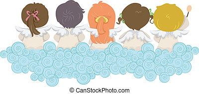 Little Angels - Illustration of Kids Dressed as Angels with...