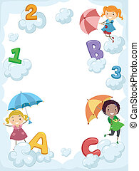 Umbrella Alphabet - Illustration of Kids Carrying Umbrellas...