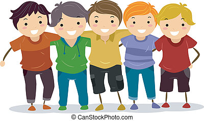 Boy Group - Illustration of a Group of Boys Huddled Together