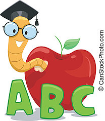Bookworm Graduate - Illustration of a Nerdy Worm Wearing a...