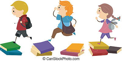 Stickman Books - Illustration of School Kids Using Piles of...