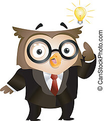 Flash of Genius - Illustration of an Owl with a Lighted...
