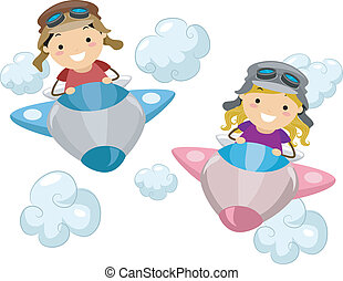 Airplane Kids - Illustration of Kids Wearing Aviator Outfits...