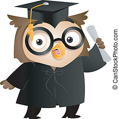 Owl Graduate - Illustration of an Owl Wearing a Toga and...