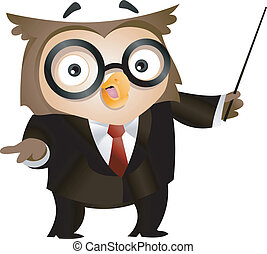 Teacher Owl - Illustration of an Owl Holding a Stick to...