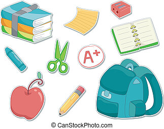 Education Sticker - Illustration of an Apple, Sharpener,...
