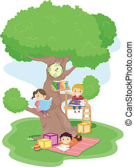 Treehouse Kids - Illustration of Kids Reading in a Treehouse