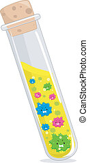 Test Tube Virus - Illustration of Cultured Viruses Inside a...