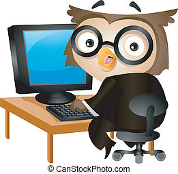 Computer Owl - Illustration of an Owl Sitting in Front of a...