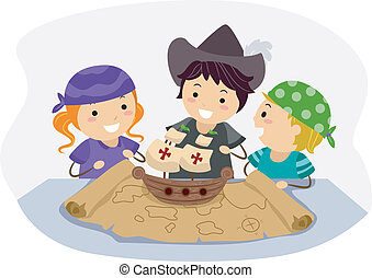 Columbus Day - Illustration of Kids Celebrating Columbus...
