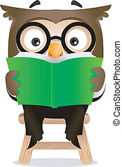 Reading Owl  - Illustration of an Owl Reading a Book