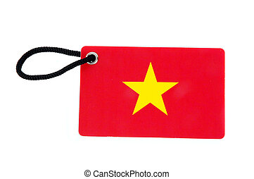 Vietnam flag tag isolated on white background