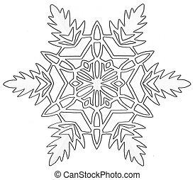 snowflake - paper white cutout snowflake on background