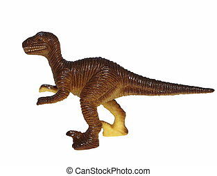 Tyrannosaurus, plastic dinosaur isolated over white...