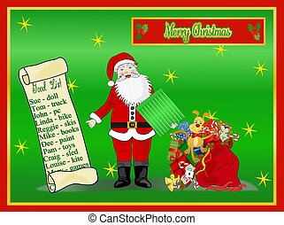 Santa With Scroll and Toy Bag