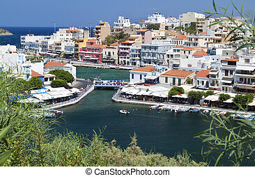 Aghios Nikolaos city at Crete island in Greece View of the...