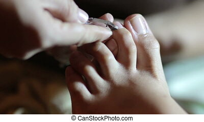 Close up of foot pedicure