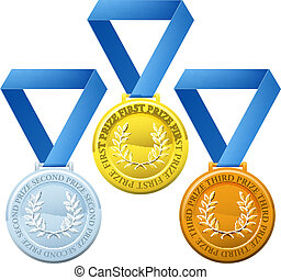 Prize medals - Illustration of three winners sports style...