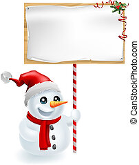 Christmas Snowman and Sign - A cute Christmas snowman with...