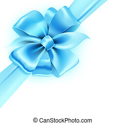 Blue bow - illustration of gift wrapped white paper with a...
