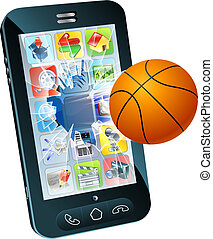 Basketball ball cell phone - Illustration of a basketball...