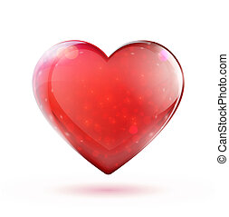 red glossy heart - illustration of beautiful red glossy...