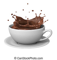 Chocolate splash in cup - Hot chocolate splash in white cup,...
