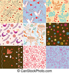 Seamless floral pattern set for cute wallpapers and cards