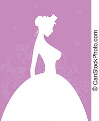 Elegant bride - Vector illustration of Elegant bride