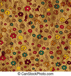 Floral grunge background on the paper texture
