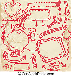 Doodle frames on the paper texture funny cartoon