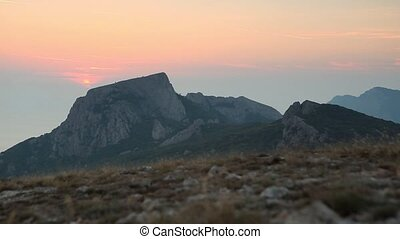 Timelapse sunset in the mountains.