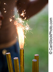 Burning sparkler - Five birthday cake sparklers One burning...