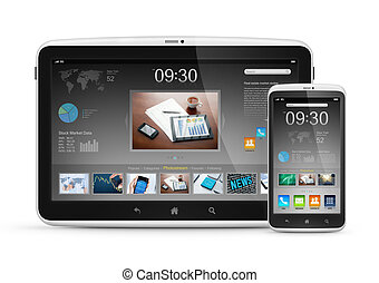 Modern digital tablet with mobile smartphone - Modern...