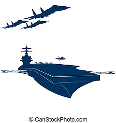 Army - Navy. Military aircraft taking off from an aircraft...