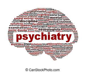 psiquiatría, médico, símbolo, aislado,...