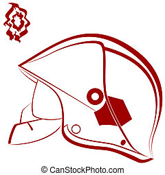 Fireman helmet - Modern helmet of the fireman and abstract...