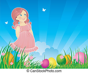 Easter back with little girl