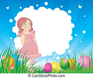 Easter back with little girl - Vector illustration of Easter...