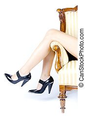 woman female legs with high heels - woman female legs in...
