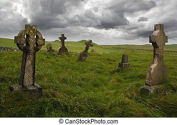 Ancient Celtic gravesite with unmarked gravestones from the...