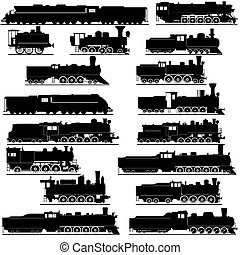 Old locomotives - Old railway. Black and white illustration...